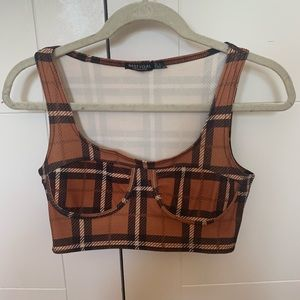 Nasty Gal plaid crop top